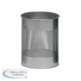 Durable Bin Round Metal Perforated 15 Litre Capacity 165mm Rim Metallic Silver Ref 3310/23
