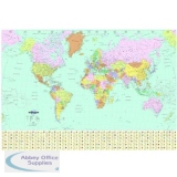 Map Marketing World Political Map Unframed 537 Miles to 1 inch Scale W1200xH830mm Ref BEX
