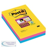 Post-it Super Sticky Notes Rio Ruled Yellow/Fuchsia/Blue Ref 4690-SS3RIO [Pack 3] [3 For 2] Jul-Sep 2018