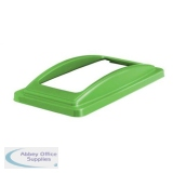 EcoSort Recycling System Waste Lid for Mixed Recycling Wide Open 295x525x75mm Green Ref ECOFRAMESPIC01