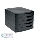 5 Star Elite Desktop Drawer Set 5 Drawers A4 and Foolscap Black/Black