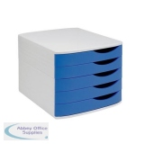 5 Star Elite Desktop Drawer Set 5 Drawers A4 and Foolscap Grey/Blue