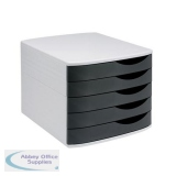 5 Star Elite Desktop Drawer Set 5 Drawers A4 and Foolscap Grey/Black