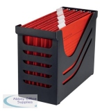 Jalema Resolution File Box with 5 Suspension Files A4 Black/Red Ref Susp Box