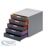Durable Varicolor Plastic Desktop Drawer Set Stackable 5 Drawers A4 Ref 760527