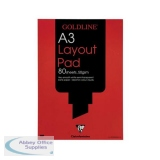 Goldline Layout Pad 50gsm Acid-free Paper 80 Sheets A3 White Ref GPL1A3Z [Pack 5]