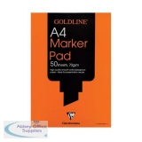 Goldline Bleedproof Marker Pad 70gsm Acid-free Paper 50 Sheets A4 White Ref GPB1A4Z [Pack 5]