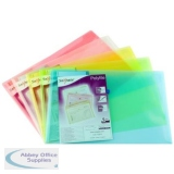 Snopake Polyfile Classic Wallet File Polypropylene Foolscap Assorted Ref 10087X [Pack 5]