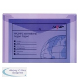 Snopake Polyfile Electra Wallet File Polypropylene Foolscap Purple Ref 11162 [Pack 5]