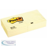 Post-it Notes Feint Ruled 76x76mm Yellow Ref 630-6 [Pack 6]