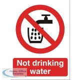 Stewart Superior Not Drinking Water Catering Sign W150xH200mm Self-adhesive Vinyl Ref P093SAV