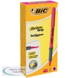 Bic Grip Pen-shaped Highlighter Pink Ref 811934 [Pack 12]