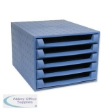 Exacompta Forever 5 Drawer Set Desktop Recycled Plastic W284xD387xH218mm Blue Ref 221101D