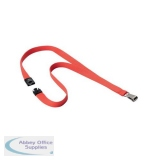 Durable Soft Textile Lanyard 15mmx440mm with 12mm Metal Snap Hook Coral Ref 8127136 [Pack 10]