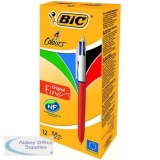 Bic 4-Colour Ball Pen Fine 0.8mm Tip 0.3mm Line Blue Black Red Green Ref 889971 [Pack 12]