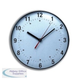5 Star Facilities Wall Clock Diameter 250mm with White Face & Black Case