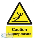 Stewart Superior Caution Slippery Surface Sign W150xH200mm Self-adhesive Vinyl Ref WO134SAV