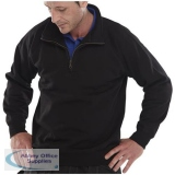 Click Workwear Sweatshirt Quarter Zip 280gsm XS Black Ref CLQZSSBLXS *Up to 3 Day Leadtime*