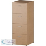 Trexus 4 Drawer Filing Cabinet 500x600x1445mm Oak Ref I000782