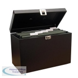Metal File Box with 5 Suspension Files and 2 Keys Steel A4 Black