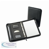 5 Star Office Zipped Conference Ring Binder with Calculator Capacity 30mm Leather Look A4 Black