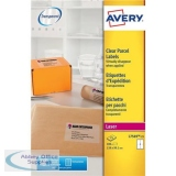 Avery Parcel Labels Laser 4 per Sheet 139x99.1mm Transparent Ref L7569-25 [100 Labels]