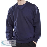 Click Workwear Sweatshirt V-Neck Polycotton 300gsm S Navy Blue Ref CLVPCSNS *Up to 3 Day Leadtime*