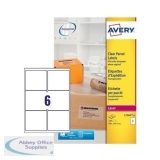 Avery Parcel Labels Laser 6 per Sheet 99.1x93.1mm Clear Gloss Ref L7564-25 [150 Labels]