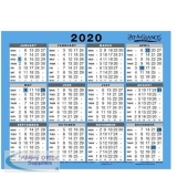 At-A-Glance 2020 Wall/Desk Calendar Year to View Gloss Board Binding 254x210mm White/Blue Ref 930 2020
