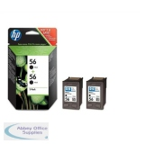 Hewlett Packard No56 Inkjet Cartridge Black Pack of 2 C9502AE