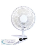 5 Star Facilities Clip-On Fan with Tilt for Desk or Shelf 2-Speed 15W 152mm