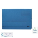 Elba Document Wallet Half Flap 285gsm Capacity 32mm A4 Blue Ref 100090129 [Pack 50]