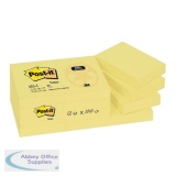 Post-it Recycled Notes Pad of 100 38x51mm Yellow Ref 653-1Y [Pack 12]