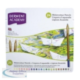 Derwent Academy Watercolour Pencils High-quality Pigments Assorted Ref 2301942 [Pack 24]