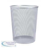 5 Star Office Mesh Waste Bin Lightweight Sturdy Scratch Resistant 15-20 Litres DxH 305x345mm Silver