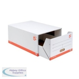 5 Star Office Archive Storage Drawer Red and White [Pack 5]