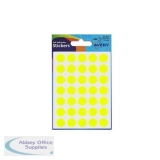 Avery Packets of Labels Diam.13mm Fluorescent Yellow Ref 32-284 [10x245 Labels]