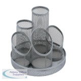 5 Star Office Pencil Pot Mesh Scratch Resistant with Non Marking Base 5 Tube Silver