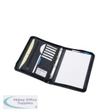 5 Star Office Zipped Conference Ring Binder Capacity 30mm Leather Look A4 Black