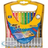 Bic Kids Couleur Felt Tip Pens Washable Water-based Ink Medium Tip Wallet Asstd Cols Ref 920293 [Pack 12]