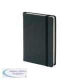 Silvine Executive Soft Feel Notebook 80gsm Ruled with Marker Ribbon 160pp A6 Black Ref 196BK
