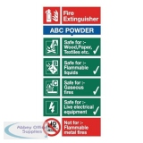 Stewart Superior ABC Dry Powder Fire Extinguisher SafetySign W100xH200mm Self-adhesive Vinyl Ref FF092SAV