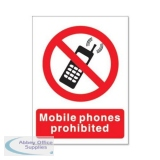 Stewart Superior Mobile Phones Prohibited 150x200mm Self Adhesive Sign Ref P087PP