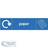 Stewart Superior Recycling Bin Sticker Paper 900x50mm Self Adhesive Vinyl Blue Ref BS001