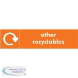 Stewart Superior Recycling Bin Sticker Other Recyclables 900x50mm Self Adhesive Vinyl Orange Ref BS002
