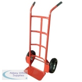 Hand Trolley Heavy-duty Capacity 200kg Wheel 255mm Foot Size W350xL200mm Red