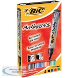 Bic Marking 2000 Permanent Marker Wallet Bullet Tip Line Width 1.7mm Assorted Ref 820911 [Pack 4]