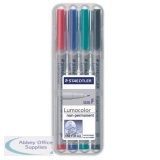 Staedtler 316 Lumocolor Pen Non-permanent Fine 0.6mm Line Assorted Ref 316WP4 [Wallet 4]