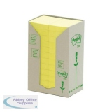 Post-it Recycled Notes Tower Pack 38x51mm Pastel Yellow Ref 653-1T [Pack 24]
