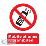Stewart Superior Mobile Phones Prohibited Self Adhesive Sign Ref P087SAV